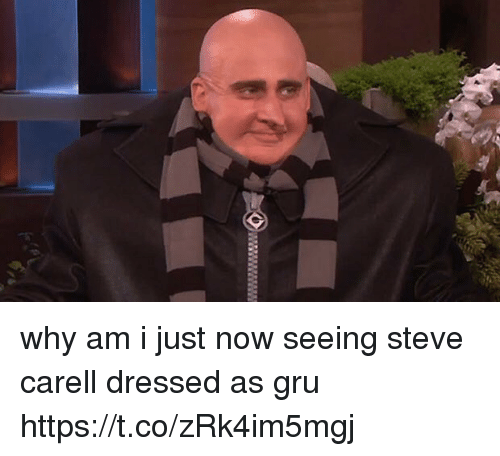 Steve Carell, Gru, and Girl Memes: why am i just now seeing steve carell dressed as gru https://t.co/zRk4im5mgj