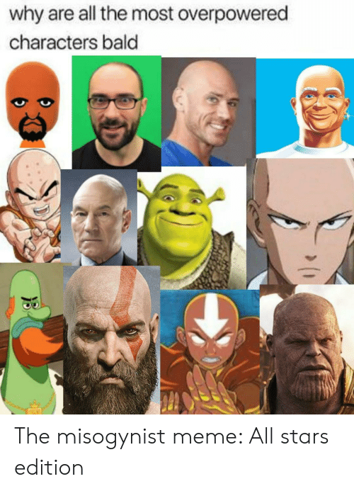 Meme, Stars, and All The: why are all the most overpowered  characters bald The misogynist meme: All stars edition