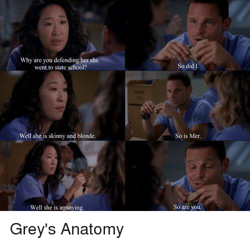 Memes, Skinny, and Grey's Anatomy: Why are you defending her she  went to state school?  Well she is skinny and blonde.  Well she is annoying.  So did  So is Mer.  So are you. Grey's Anatomy