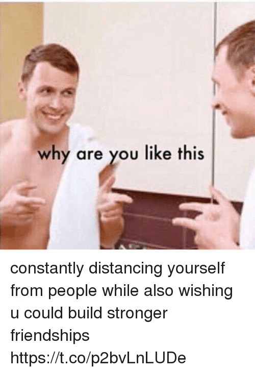 Girl Memes, Why Are You Like This, and Why: why are you like this constantly distancing yourself from people while also wishing u could build stronger friendships https://t.co/p2bvLnLUDe