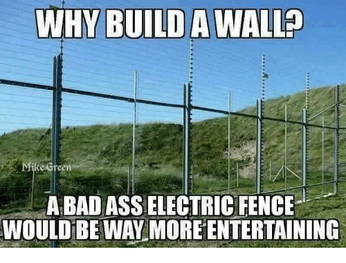 fence meme. memes and mike why build awallp green a bad asselectric fence would be way more entertaining fence meme