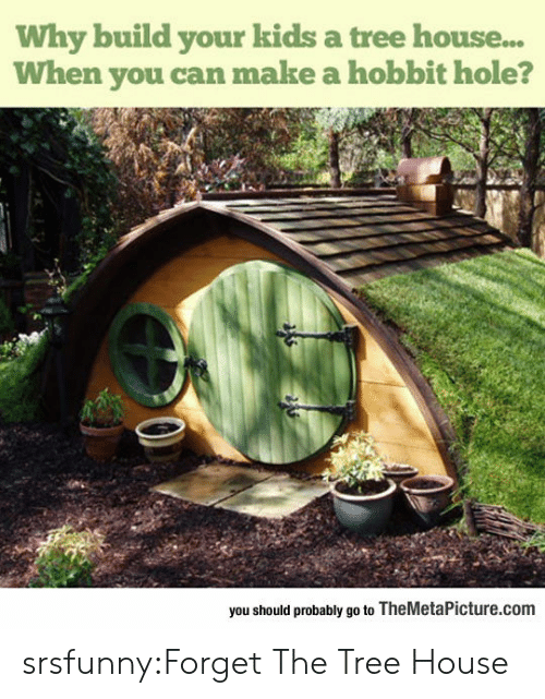 Tumblr, Blog, and Hobbit: Why build your kids a tree house...  When you can make a hobbit hole?  you should probably go to TheMetaPicture.com srsfunny:Forget The Tree House