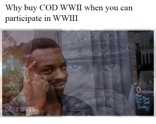Reddit, Cod, and Wwii: Why buy COD WWII When you can  participate in WWIII