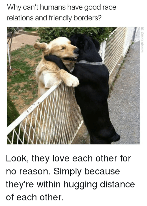 Funny, Love, and Good: Why can't humans have good race  relations and friendly borders? Look, they love each other for no reason. Simply because they're within hugging distance of each other.