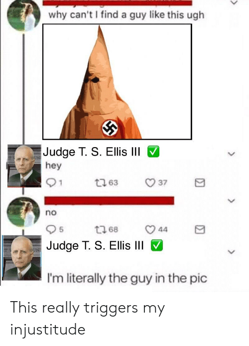 Dank Memes, Judge, and Why: why can't I find a guy like this ugh  Judge T. S. Ellis lII  hey  no  5  Judge T. S. EllisIII  I'm literally the guy in the pic This really triggers my injustitude