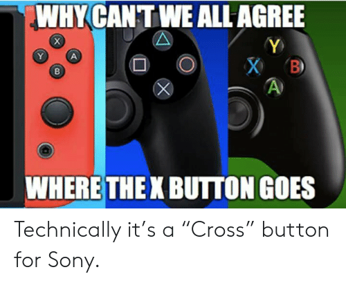 """Sony, Why, and All: WHY CANTWE ALL AGREE  WHERE THE X BUTTON GOES Technically it's a """"Cross"""" button for Sony."""