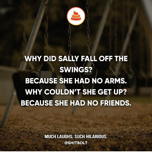Fall, Friends, and Memes: WHY DID SALLY FALL OFF THE  SWINGS?  BECAUSE SHE HAD NO ARMS.  WHY COULDN'T SHE GET UP?  BECAUSE SHE HAD NO FRIENDS.  MUCH LAUGHS. SUCH HILARIOUS.  @SHIT BOLT