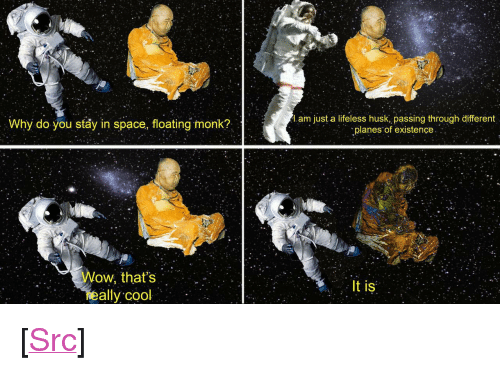 """Reddit, Wow, and Cool: Why do you stay in space, floating monk?  l.am just a lifeless husk, passing through different  planes of existence  Wow, that's  eally cool  It is <p>[<a href=""""https://www.reddit.com/r/surrealmemes/comments/7sk82i/total_harmony/"""">Src</a>]</p>"""