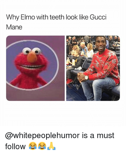 Elmo, Gucci, and Gucci Mane: Why Elmo with teeth look like Gucci  Mane @whitepeoplehumor is a must follow 😂😂🙏