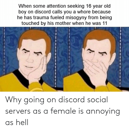 Hell, Annoying, and Discord: Why going on discord social servers as a female is annoying as hell