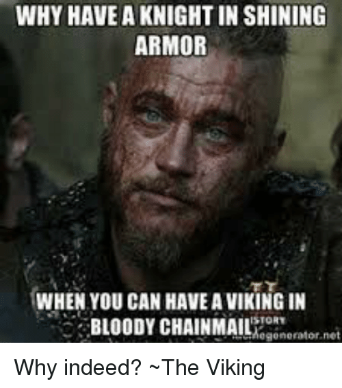 why have a knightin shining armor when you can have a viking in