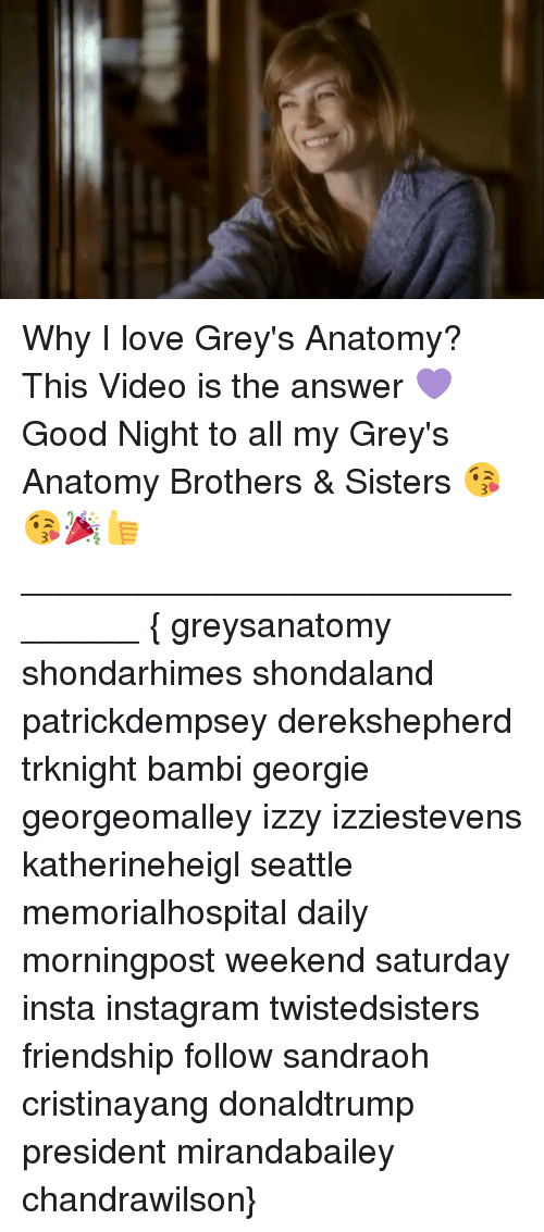 Why I Love Greys Anatomy This Video Is The Answer Good Night To