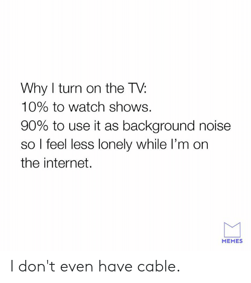 Dank, Internet, and Memes: Why I turn on the T\V:  10% to watch shows.  90% to use it as background noise  so l feel less lonely while I'm on  the internet.  MEMES I don't even have cable.