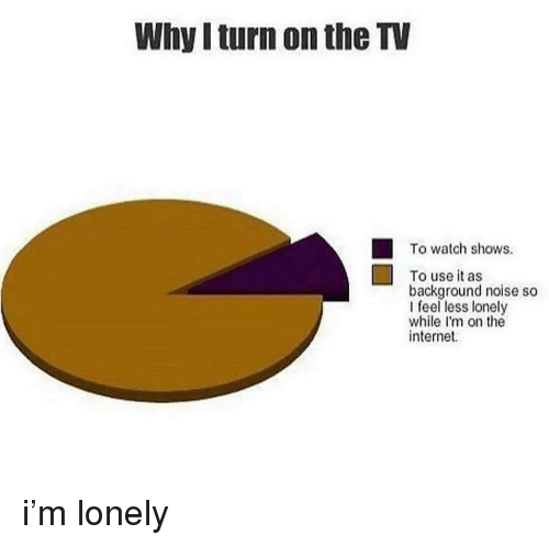 Internet, Watch, and The Internet: Why I turn on the TV  To watch shows.  To use it as  background noise so  I feel less lonely  while I'm on the  internet i'm lonely
