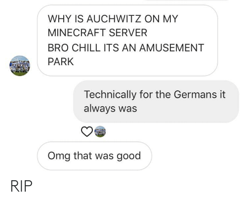 Chill, Minecraft, and Omg: WHY IS AUCHWITZ ON MY  MINECRAFT SERVER  BRO CHILL ITS AN AMUSEMENT  PARK  Technically for the Germans it  always was  Omg that was good RIP