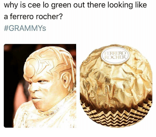 Grammys, Looking, and Cee Lo Green: why is cee lo green out there looking like  a ferrero rocher?  #GRAMMYs  FERREROW  ROCHER