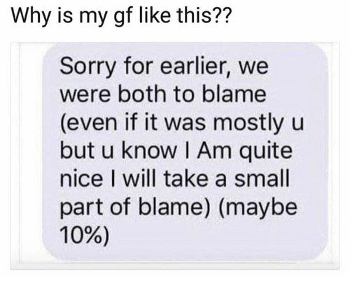 Sorry, Quite, and Nice: Why is my gf like this??  Sorry for earlier, we  were both to blame  (even if it was mostly u  but u know I Am quite  nice I will take a small  part of blame) (maybe  10%)