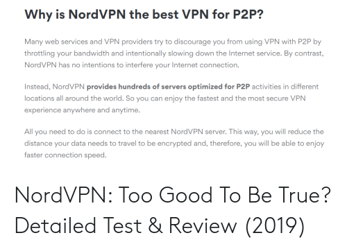 Why Is NordVPN the Best VPN for P2P? Many Web Services and