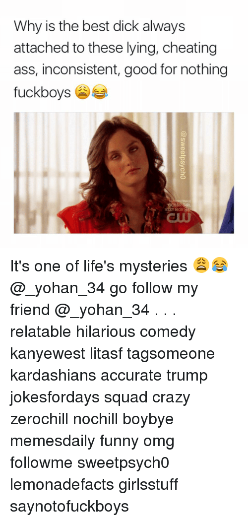 Memes, Mystery, and 🤖: Why is the best dick always  attached to these lying, cheating  ass, inconsistent, good for nothing  fuck boys It's one of life's mysteries 😩😂 @_yohan_34 go follow my friend @_yohan_34 . . . relatable hilarious comedy kanyewest litasf tagsomeone kardashians accurate trump jokesfordays squad crazy zerochill nochill boybye memesdaily funny omg followme sweetpsych0 lemonadefacts girlsstuff saynotofuckboys