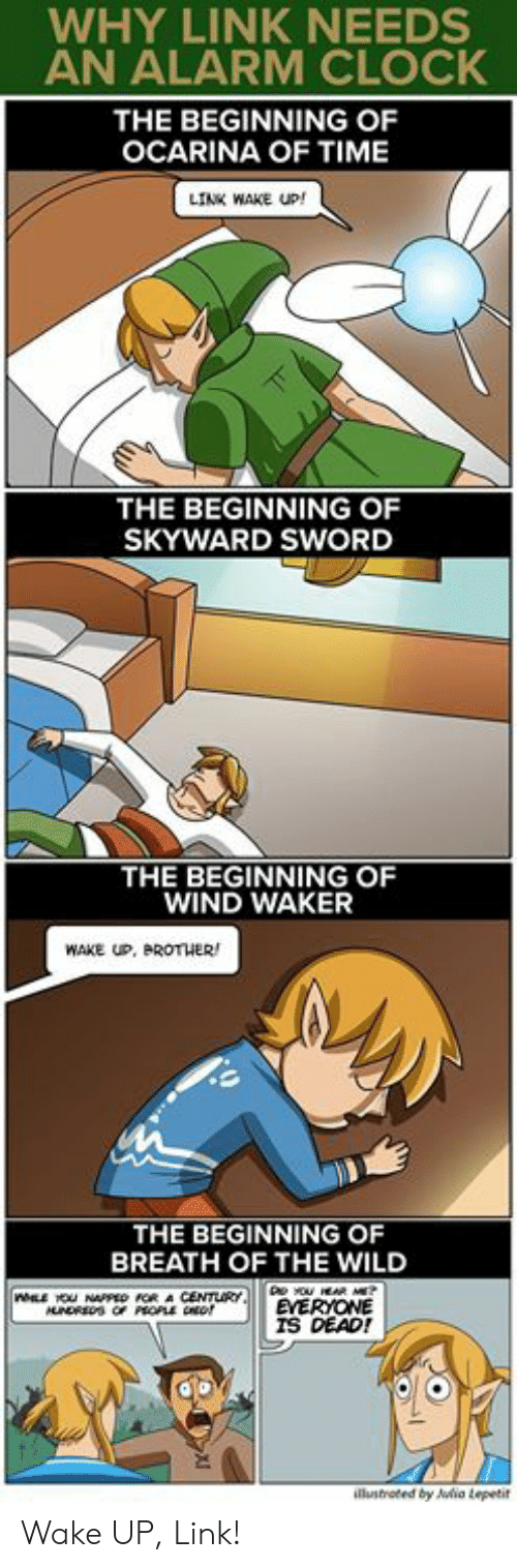Clock, Memes, and Alarm: WHY LINK NEEDS  AN ALARM CLOCK  THE BEGINNING OF  OCARINA OF TIME  LINK WAKE UP!  THE BEGINNING OF  SKYWARD SWORD  THE BEGINNING OF  WIND WAKER  WAKE UP, BROTHER  THE BEGINNING OF  BREATH OF THE WILD  EYERYONE  İS DEAD!  ia Lepetit Wake UP, Link!