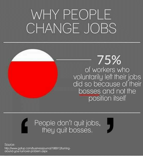 Jobs, Change, And Who: WHY PEOPLE CHANGE JOBS 75% Of Workers Who