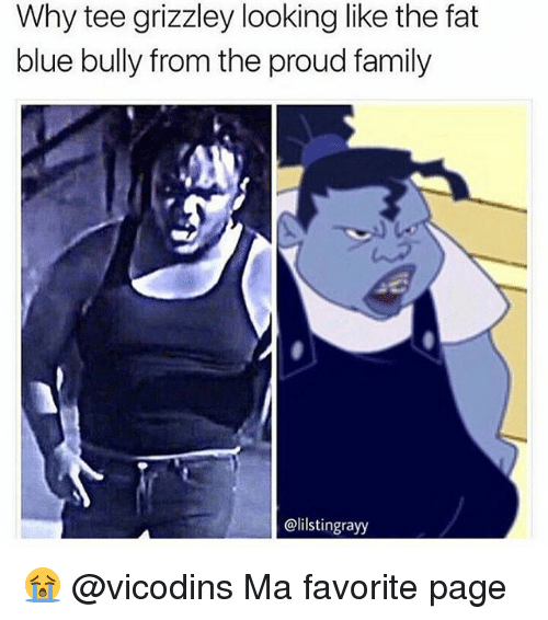 Family, Memes, and The Proud Family: Why tee grizzley looking like the fat  blue bully from the proud family  @lilstingrayy 😭 @vicodins Ma favorite page