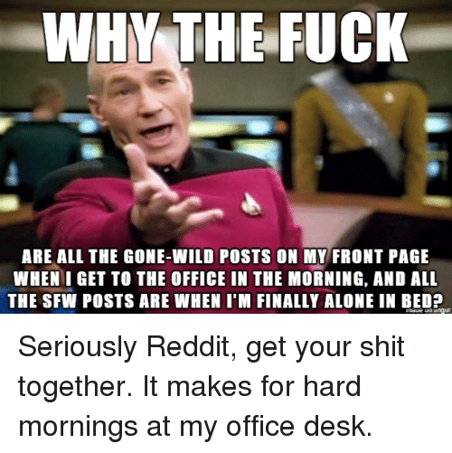 Being Alone, Reddit, and Shit: WHY THE FUCK  ARE ALL THE GONE-WILD POSTS ON MY FRONT PAGE  WHEN I GET TO THE OFFICE IN THE MORNING, AND ALL  THE SFW POSTS ARE WHEN I'M FINALLY ALONE IN BED? Seriously Reddit, get your shit together. It makes for hard mornings at my office desk.