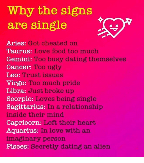 Why the Signs Are Single Got Cheated on Aries Taurus Love Food Too