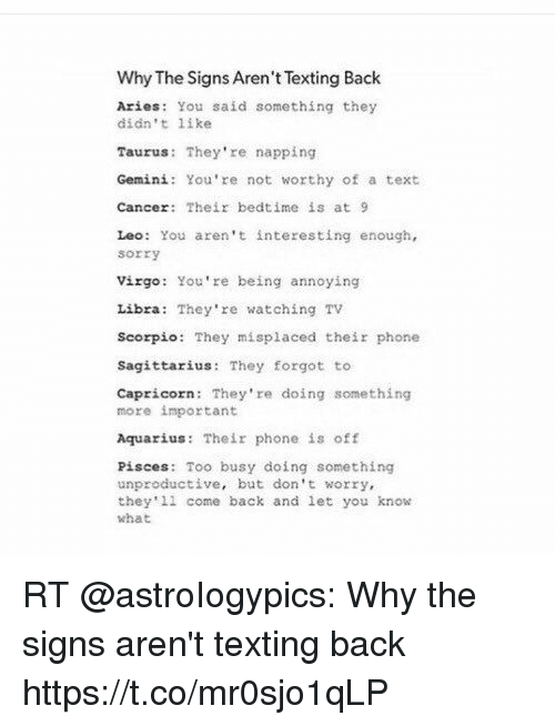 Why the Signs Aren't Texting Back Aries You Said Something