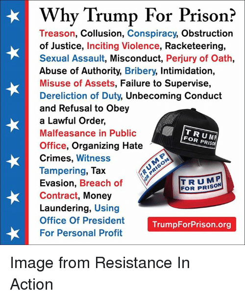 Why Trump for Prison? Treason Collusion Conspiracy Obstruction of
