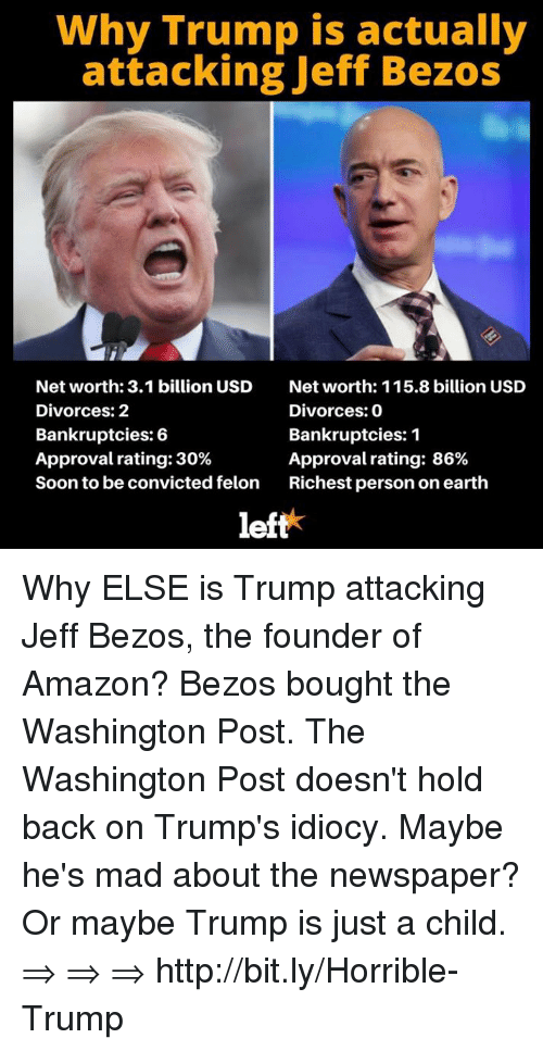 why trump is actually attacking jeff bezos net worth 3 1 32116895 why trump is actually attacking jeff bezos net worth 31 billion usd