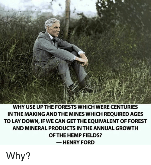 Lay's, Memes, and Ford: WHY USE UPTHE FORESTS WHICH WERE CENTURIES  IN THE MAKING ANDTHE MINES WHICH REQUIRED AGES  TO LAY DOWN, IF WE CAN GETTHEEQUIVALENT OF FOREST  AND MINERAL PRODUCTS IN THE ANNUAL GROWTH  OF THE HEMP FIELDS?  HENRY FORD Why?