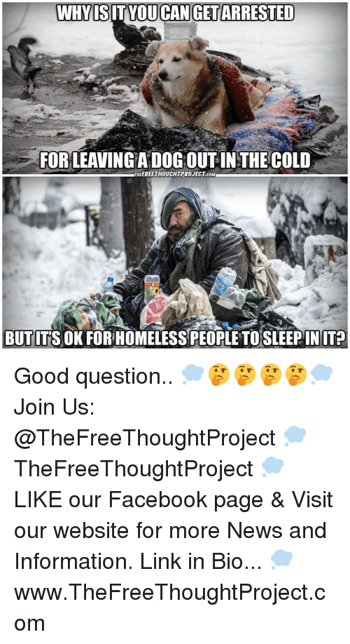 Facebook, Homeless, and Memes: WHYIS IT YOU CAN GET ARRESTED  FORLEAVINGA DOGOUT IN THECOLD  THEFREETHOUCHTPROJECT.coM  BUT ITS OK FOR HOMELESS PEOPLE TOSLEEPINIT? Good question.. 💭🤔🤔🤔🤔💭 Join Us: @TheFreeThoughtProject 💭 TheFreeThoughtProject 💭 LIKE our Facebook page & Visit our website for more News and Information. Link in Bio... 💭 www.TheFreeThoughtProject.com