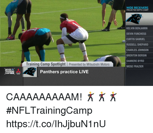 Brenton Bersin, Devin Funchess, and Memes: WIDE RECEIVERS  PROJECTED DEPTH CHART  KELVIN BENJAMIN  DEVIN FUNCHESS  CURTIS SAMUEL  RUSSELL SHEPARD  CHARLES JOHNSON  BRENTON BERSIN  DAMIERE BYRD  MOSE FRAZIER  Training Camp Spotlight Presented by Mitsubishi Motors  NSIDE  TRAINING  Panthers practice LIVE CAAAAAAAAAM! 🕺🕺🕺  #NFLTrainingCamp https://t.co/IhJjbuN1nU