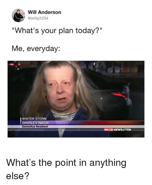 """Funny, News, and Winter: Will Anderson  @willyj1234  """"What's your plan today?""""  Me, everyday:  WINTER STORM  SHIRLEY NASH  Cornelius Resident  WCCB NEWS@TEN What's the point in anything else?"""