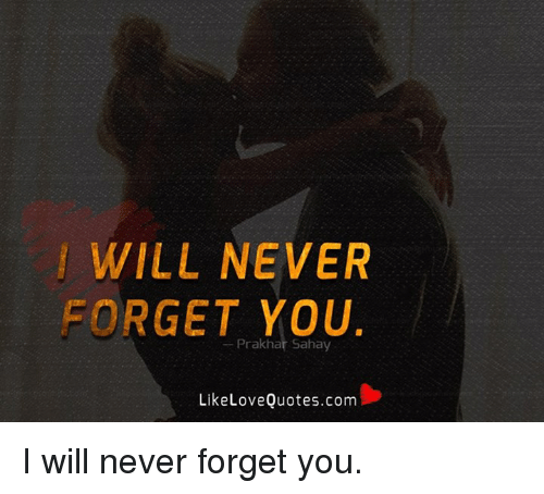 Will Never Forget You Prakhar Sahay Likelove Quotescom I Will Never