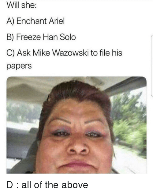Ariel, Han Solo, and Reddit: Will she:  A) Enchant Ariel  B) Freeze Han Solo  C) Ask Mike Wazowski to file his  papers
