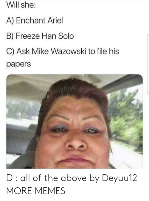 Ariel, Dank, and Han Solo: Will she:  A) Enchant Ariel  B) Freeze Han Solo  C) Ask Mike Wazowski to file his  papers D : all of the above by Deyuu12 MORE MEMES