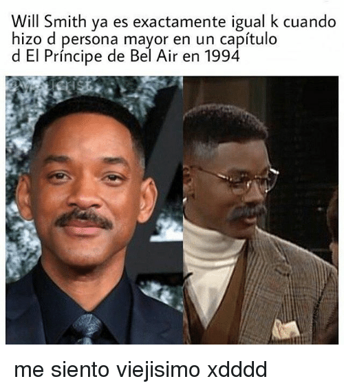 Will Smith, Persona, and Air: Will Smith ya es exactamente igual k cuando  hizo d persona mayor en un capítulo  d El Príncipe de Bel Air en 1994 me siento viejisimo xdddd