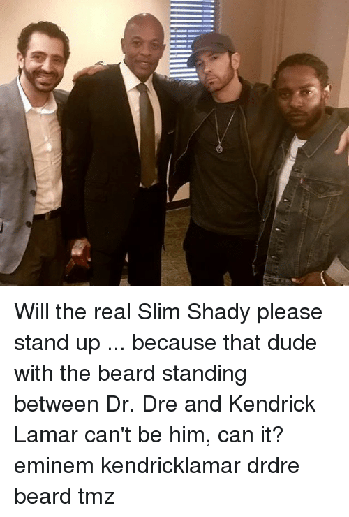 Beard, Dr. Dre, and Dude: Will the real Slim Shady please stand up ... because that dude with the beard standing between Dr. Dre and Kendrick Lamar can't be him, can it? eminem kendricklamar drdre beard tmz