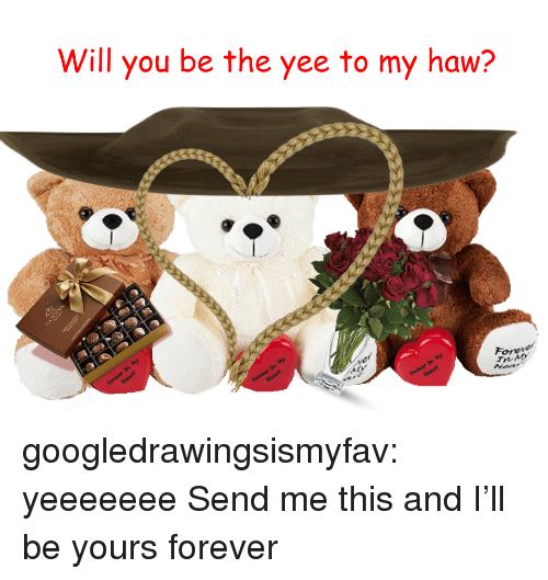 Tumblr, Yee, and Blog: Will you be the yee to my haw?  Forey  rnb  vd  vd googledrawingsismyfav:  yeeeeeee  Send me this and I'll be yours forever