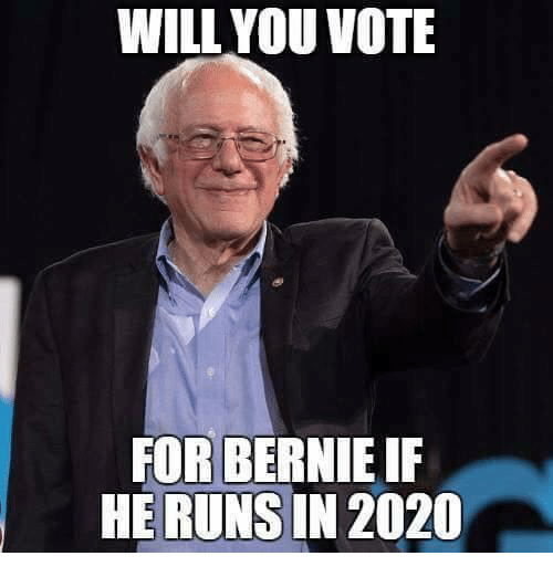 Memes, Bernie, and 🤖: WILL YOU VOTE  FOR BERNIE IF  HE RUNS IN 2020