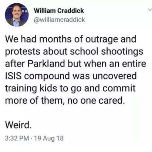 Isis, Memes, and School: William Craddick  @williamcraddick  We had months of outrage and  protests about school shootings  after Parkland but when an entire  ISIS compound was uncovered  training kids to go and commit  more of them, no one cared.  Weird.  3:32 PM 19 Aug 18