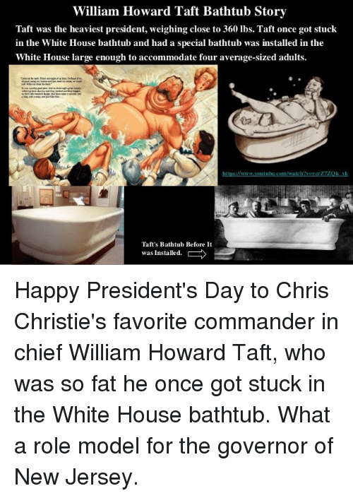 William Howard Taft Bathtub Story Taft Was The Heaviest President