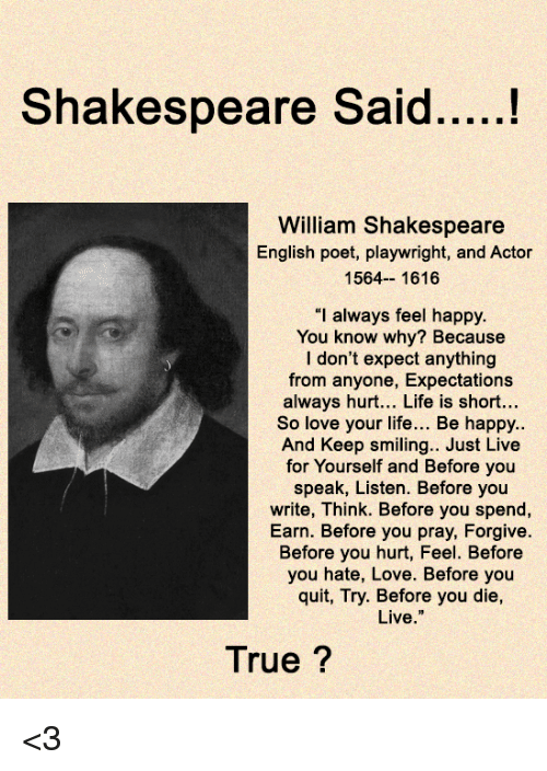 """Life, Love, and Memes: William Shakespeare  English poet, playwright, and Actor  1564-- 1616  """"I always feel happy.  You know why? Because  I don't expect anything  from anyone, Expectations  always hurt... Life is short...  So love your life... Be happy..  And Keep smiling.. Just Live  for Yourself and Before you  speak, Listen. Before you  write, Think. Before you spend,  Earn. Before you pray, Forgive  Before you hurt, Feel. Before  you hate, Love. Before you  quit, Try. Before you die,  Live.""""  True ? <3"""