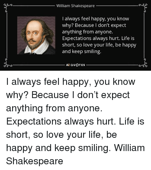 William Shakespeare I Always Feel Happy You Know Why Because I Don