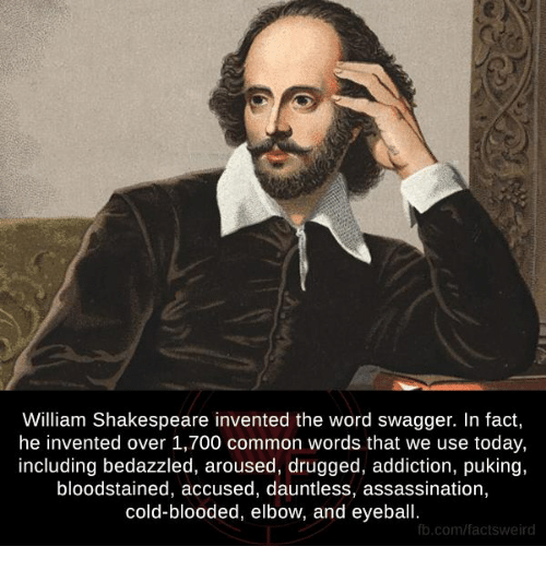 Assassination, Bloods, and Drugs: William Shakespeare invented the word swagger. In fact,  he invented over 1,700 common words that we use today,  including bedazzled, aroused, drugged, addiction, puking,  bloodstained, accused, dauntless, assassination,  cold-blooded, elbow, and eyeball.  fb.com/factsweird