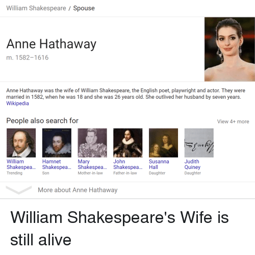 William Shakespeare Spouse Anne Hathaway M 1582-1616 Anne