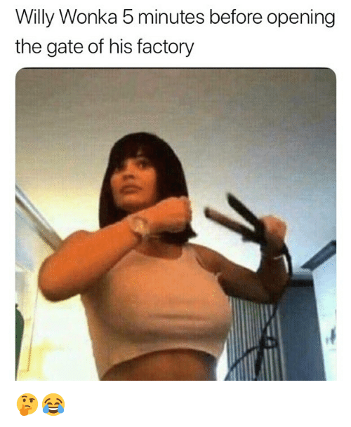 Memes, Willy Wonka, and 🤖: Willy Wonka 5 minutes before opening  the gate of his factory 🤔😂