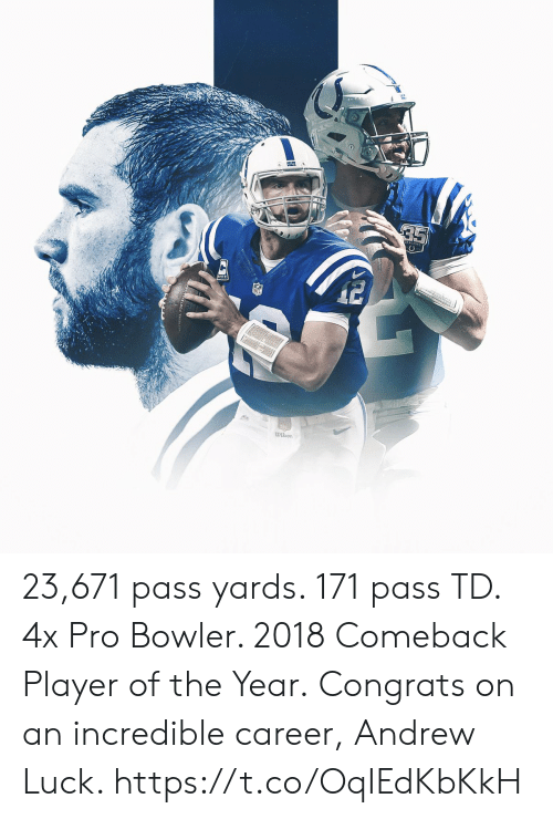 Andrew Luck, Memes, and Pro: wilson 23,671 pass yards. 171 pass TD. 4x Pro Bowler. 2018 Comeback Player of the Year.  Congrats on an incredible career, Andrew Luck. https://t.co/OqIEdKbKkH